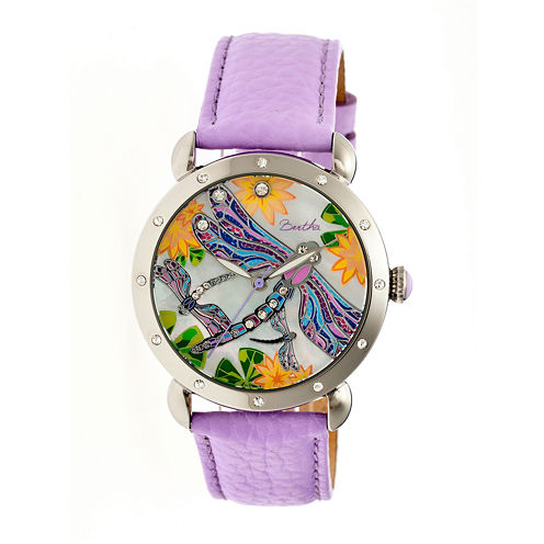 Bertha Womens Jennifer Mother-Of-Pearl Lavender Leather-Band Watchbthbr5002