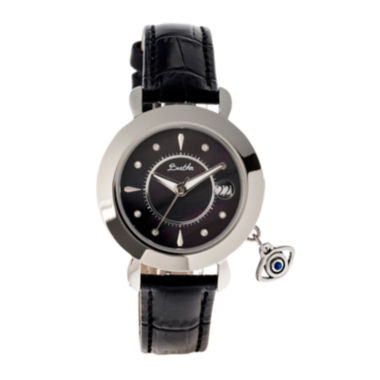 jcpenney.com | Bertha Womens Iris Mother-Of-Pearl Black Leather Strap Watch With Date BTHBR5302