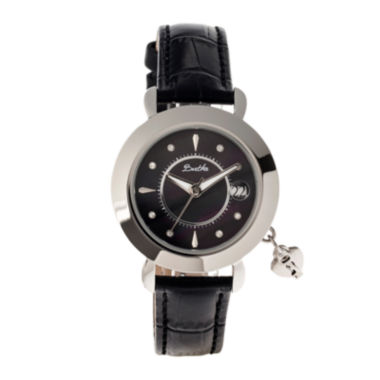 jcpenney.com | Bertha Womens Kaylee Mother-Of-Pearl Black Leather-Band Watch With Datebthbr5401