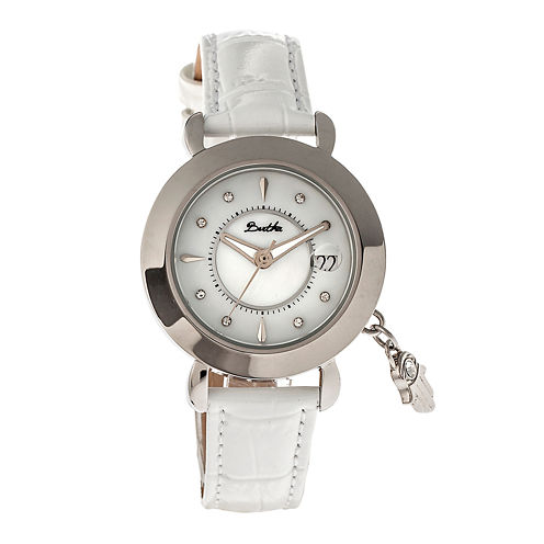 Bertha Womens Hannah Mother-Of-Pearl White Leather-Band Watch With Datebthbr5603