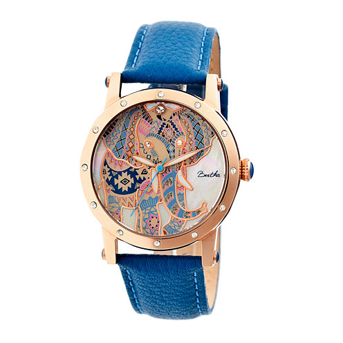 Bertha Womens Betsy Mother-Of-Pearl Blue Leather-Band Watchbthbr5705
