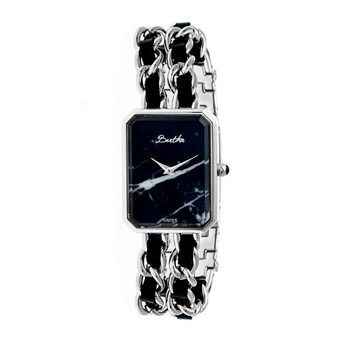 Bertha Womens Eleanor Stone-Dial Swiss Black Dial Silver Bracelet Watchbthbr5902