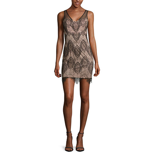 Reigns On Sleeveless Bonded-Lace Dress - Juniors
