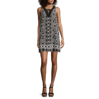 jcpenney.com | City Triangles® Sleeveless Lace-Up Twin-Print A-Line Dress - Juniors