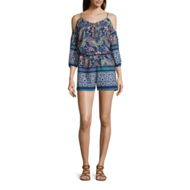 jcpenney.com | City Triangles® 3/4-Sleeve Cold-Shoulder Printed Lace-Up Romper - Juniors