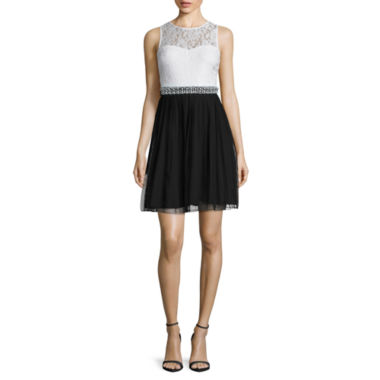 jcpenney.com | Speechless Sleeveless Two-Tone Embellished-Waist Fit-and-Flare Dress - Juniors