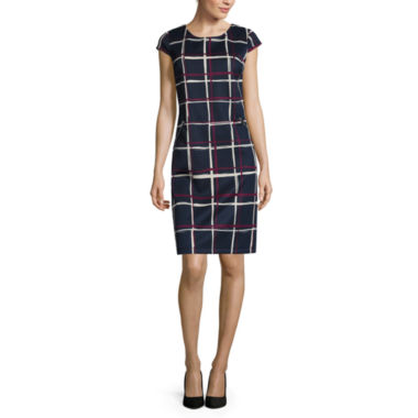 jcpenney.com | R&K Originals® Cap-Sleeve Sketchy Plaid Shift Dress with Faux-Zip Pockets