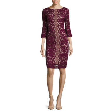 jcpenney.com | Danny & Nicole® 3/4-Bell-Sleeve Lace Sheath Dress