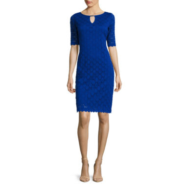 jcpenney.com | RN Studio by Ronni Nicole Elbow-Sleeve Keyhole Lace Sheath Dress - Petite