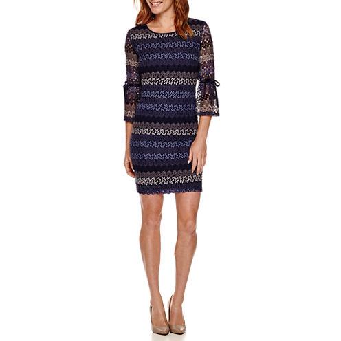 R&K Originals® Long-Sleeve Textured Knit Shift Dress - Petite