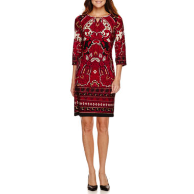 jcpenney.com | R&K Originals 3/4-Sleeve Keyhole Neck Shift Dress - Petite