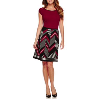 jcpenney.com | Robbie Bee® Short-Sleeve Textured Stripe-Skirt Fit-and-Flare Dress - Petite