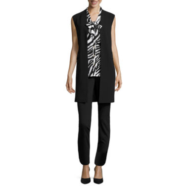 jcpenney.com | Liz Claiborne® Long Vest, Sleeveless Tie Top or Belted Ankle Pants - Tall