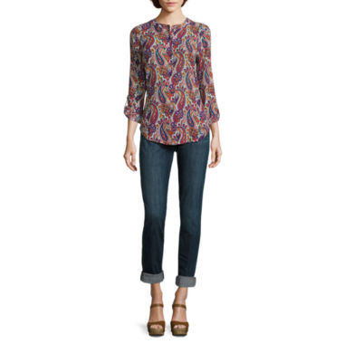 jcpenney.com | Liz Claiborne® Long-Sleeve Roll-Tab Blouse or Boyfriend Jeans - Tall