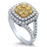 Womens 2 CT. T.W. Round Yellow Diamond 18K Gold Engagement Ring