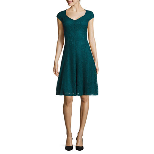 Liz Claiborne® Cap-Sleeve Lace Fit-and-Flare Dress