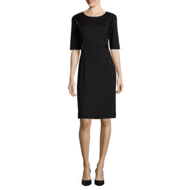 jcpenney.com | Liz Claiborne® Elbow-Sleeve Faux Leather and Lace Detail Sheath Dress