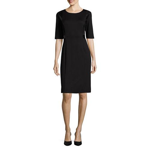 Liz Claiborne® Elbow-Sleeve Faux Leather and Lace Detail Sheath Dress