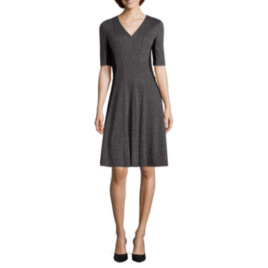 jcpenney.com | Liz Claiborne® Elbow-Sleeve Fit-and-Flare Dress