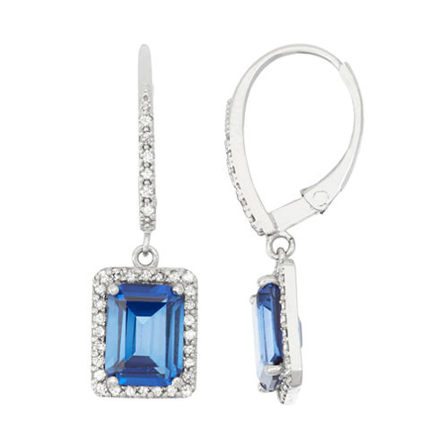 Lab Created Sapphire And 1/3C.T. T.W.Diamond 10K White Gold Earrings