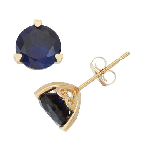 Lab Created Sapphire And Diamond Accent 10K Yellow Gold Earrings