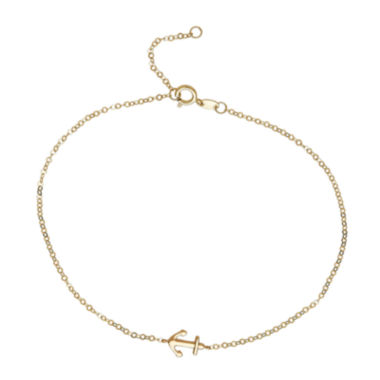 jcpenney.com | 14K Yellow Gold Side Anchor Ankle Bracelet