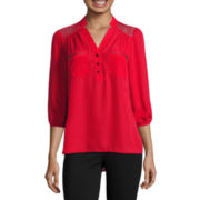 HollyWould 3/4-Sleeve Zip Pocket Blouse - Juniors