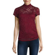 Almost Famous Short-Sleeve Ruched Lace Mockneck Tee - Juniors