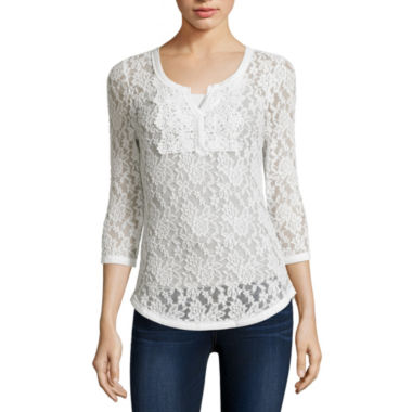 jcpenney.com | Almost Famous 3/4-Sleeve Lace Henley Top - Juniors