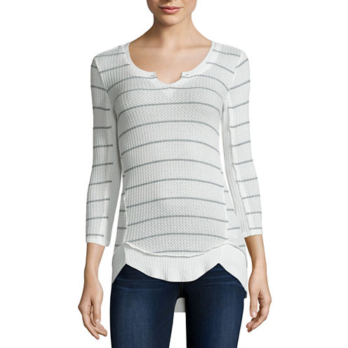 Almost Famous 3/4-Sleeve Hacci Top - Juniors
