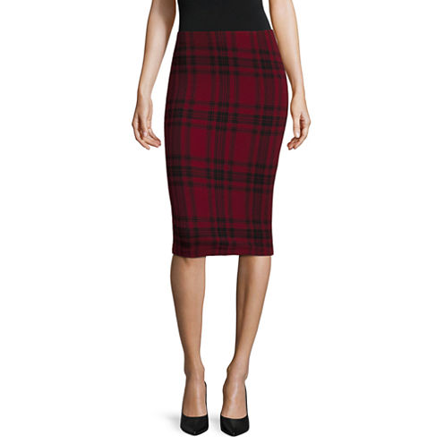 by&by Textured-Knit Plaid Pencil Skirt - Juniors