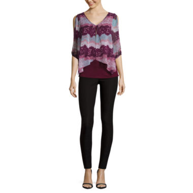 jcpenney.com | by&by 3/4-Sleeve Split-Front Printed Top or Millennium Skinny Pants