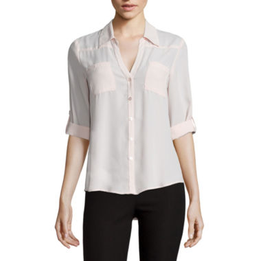 jcpenney.com | by&by Long-Sleeve Crepe Roll-Tab Button-Front Blouse  - Juniors