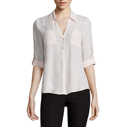 by&by Long-Sleeve Crepe Roll-Tab Button-Front Blouse  - Juniors