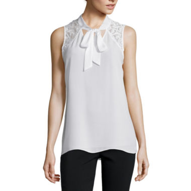 jcpenney.com | by&by Sleeveless Lace-Shoulder Tie-Neck Blouse - Juniors
