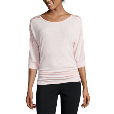 jcpenney.com | by&by 3/4-Sleeve Lace-Shoulder Side-Cinch Top - Juniors