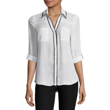 jcpenney.com | by&by Long-Sleeve Piped-Placket Button-Front Blouse  - Juniors