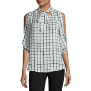 by&by Long-Sleeve Plaid Tie-Front Blouse