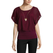 by&by Short-Sleeve Textured Knit Banded Bottom Top with Necklace
