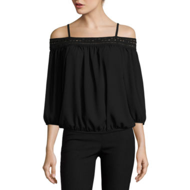 jcpenney.com | by&by 3/4-Sleeve Off-the-Shoulder Crepe Blouse  - Juniors