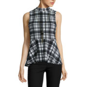 by&by Sleeveless Plaid Knit Peplum Top with Necklace