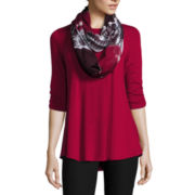 by&by Elbow-Sleeve Knit Trapeze Top with Scarf