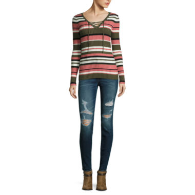 jcpenney.com | Arizona Ribbed Lace-up Sweater or High-Rise Super Skinny Jeans -Juniors