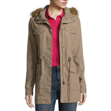 jcpenney.com | Liz Claiborne Long Sleeve Faux Fur Trim Anorak Jacket