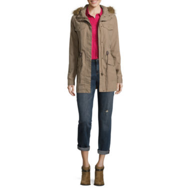 jcpenney.com | Liz Claiborne Long Sleeve Faux Fur Trim Anorak Jacket, Long Sleeve Roll-Tab Rayon Blouse, and City-Fit Boyfriend Skinny Jean
