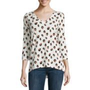 Liz Claiborne® 3/4 Sleeve Cheetah V-Neck Knit Top