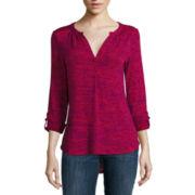 Liz Claiborne® Long-Sleeve Splitneck Roll-Tab Knit Top