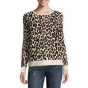 Liz Claiborne® Long-Sleeve Animal Print Sweatshirt