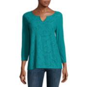 Liz Claiborne® 3/4-Sleeve Splitneck Lace-Front Tee