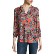 Liz Claiborne® Long-Sleeve Printed V-Neck Peasant Top